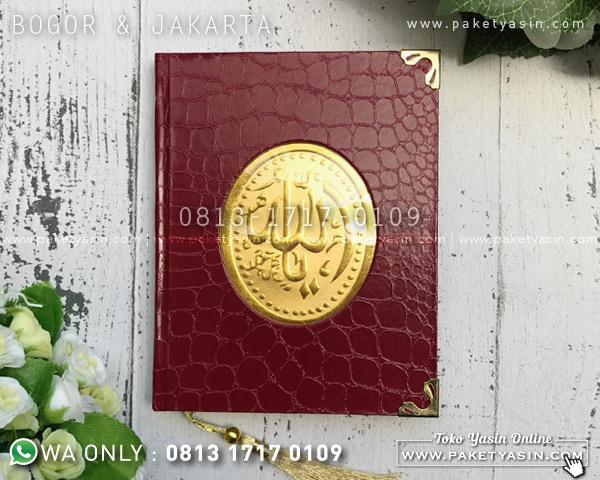 YASIN HARD COVER MERAH TEKSTUR KULIT SIKU GOLD